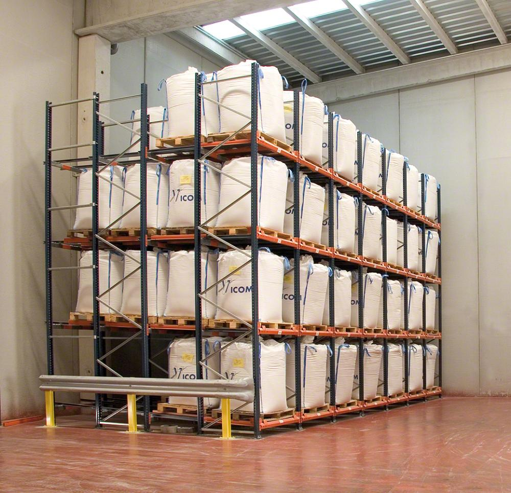 Pushback Racking Used to Store Large Bags Four Deep
