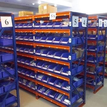 Storage Racks with Bins