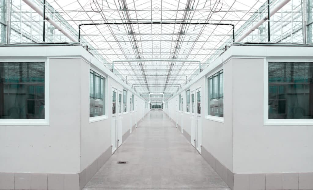 Row of Modular Offices in Warehouse Building