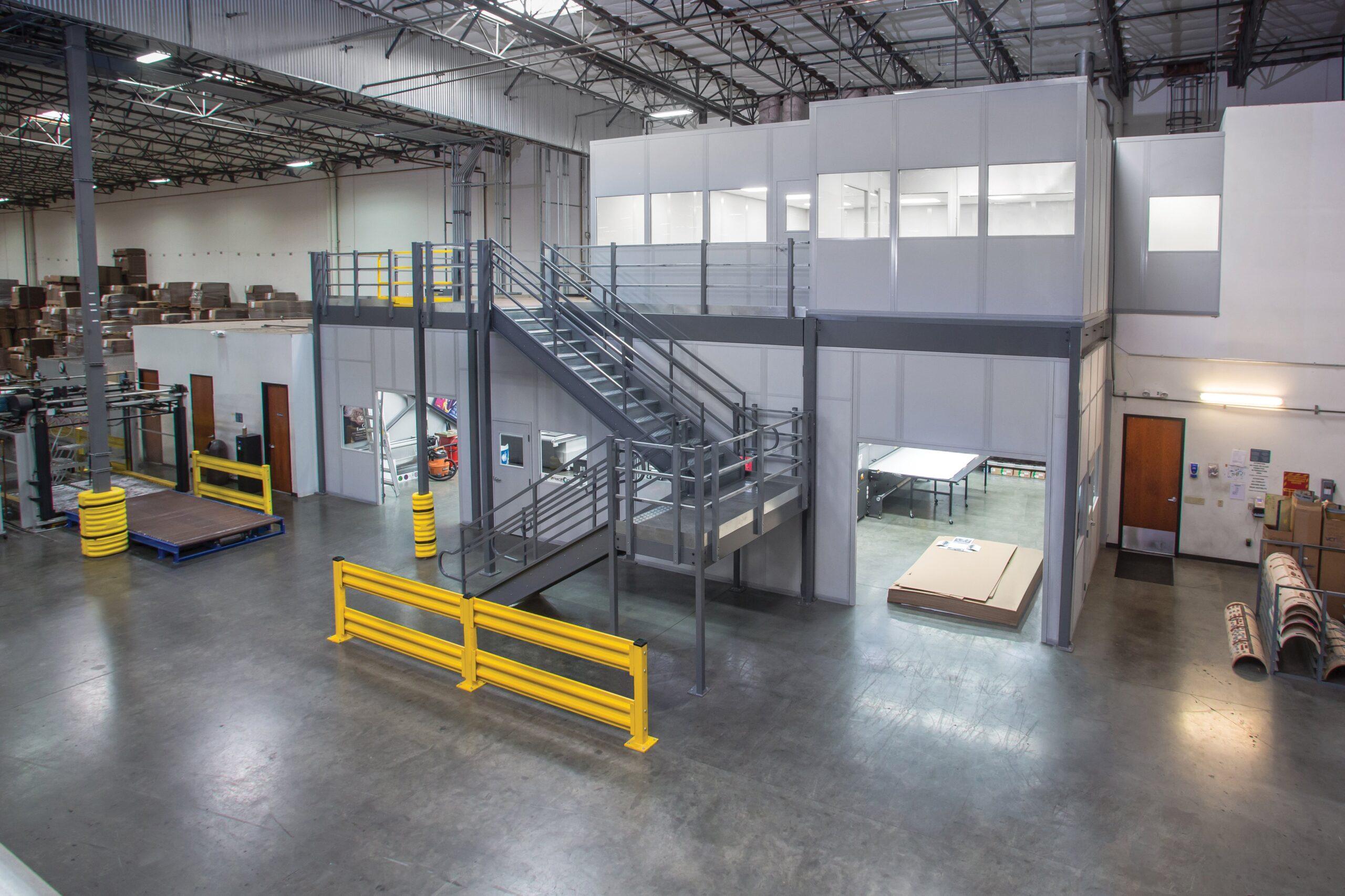New York Steel Mezzanine Floor With Modular Office on Top