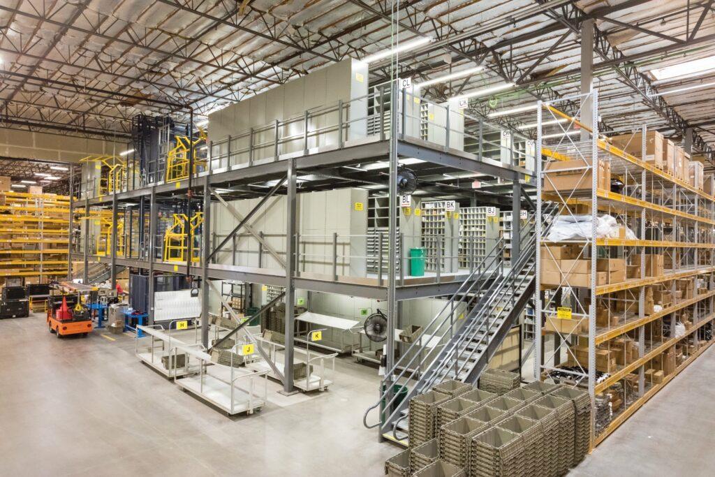 Multi-level Cogan grey mezzanine in warehouse
