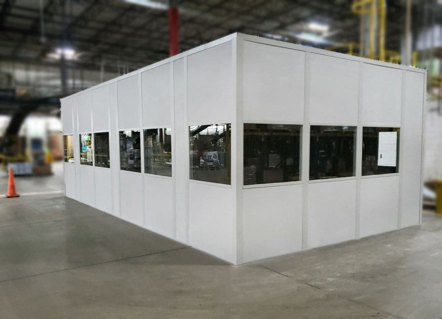 Panel Built one-story premanufactured modular office in white
