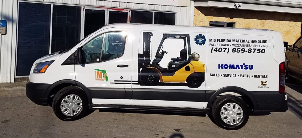 Mid Florida Storefront and Van with Forklift